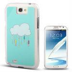 Rain Cloud Pattern Diamond Encrusted Plastic Case for Samsung Galaxy Note II / N7100