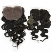 Free shipping natural brazilian virgin hair lace front closure piece