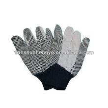 PVC dots on palm cotton canvas glove