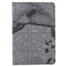 World Maps PU stand leather case cover for Apple ipad mini grey color