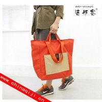 Color block decoration large capacity folding waterproof eco-friendly bag shopping bag fashion nylon bag
