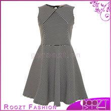 Black Stripe Fit & Flare Lady Antique Dresses