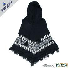 winter knitted 100% acrylic women jacquard knitting pattern shawl wrap with ball and hood