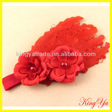 2013 New Top Infant Feather Headband and Flower Hairband (KY82996-4)