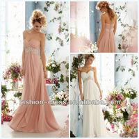 Beautiful Crystal Beaded Empire on Luxe Chiffon Pink Beach Wedding Dresses