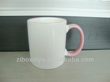 11oz Pink color handle&Rim sublimation mugs FOR ZIBO XINYU