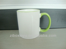 11oz Apple color handle&Rim sublimation mugs FOR ZIBO XINYU