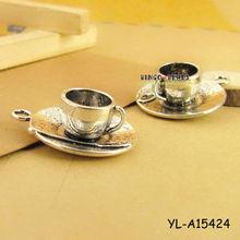 Tibetan Silver 3D COFFEE or TEA CUP Tibet Charms Pendants Drops