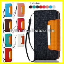 "Plain Color Luxury Handbag Hot Selling Wallet Case for iPhone 5"" Leather Case Card Slot/Holder Lanyard Magnetic Metal Wholesale"