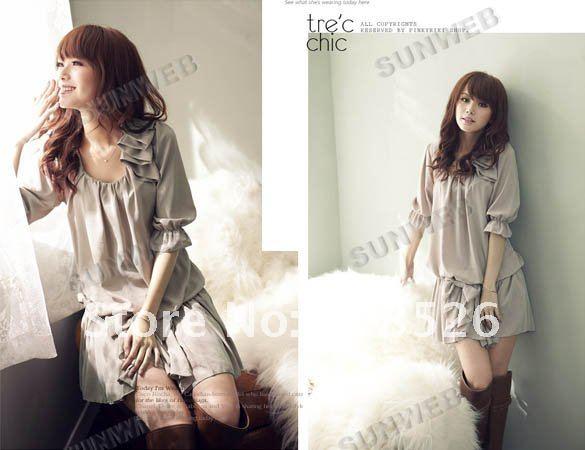 New ladies' summer Fashion Casual Ruffle Bowknot Mini Chiffon Dress M,L,XL 2301