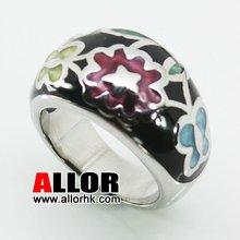 Stainless steel colorful enamel flower ring for women