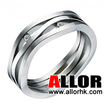 Personalized Crystal Stainless Steel Mens Rings