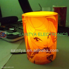 Color printing, flameless flickering plastic led candle LC5034
