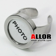 Fashion Round Shiny Steel Photo Jewelry Finger Ring
