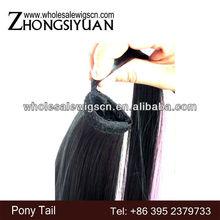 Fashion wholesale long wavy blond human hair drawstring ponytail