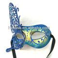 partido de la mariposa máscara de venecia de cristal azul y polvo de brillo