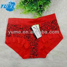 Hot-sale Women Underwear Sexy High Waist Shorts With Lace Underpants Bamboo Fiber Briefs