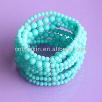 Many layers rosary plastic beads wrist bracelet