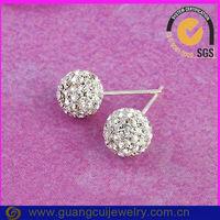 fashion shiny silver white rhinestone mesh balls for earrings for women
