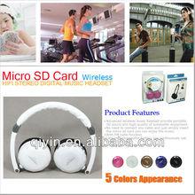 MD-870 sport mp3 headphone with fm radio /wireless fm radio mp3 sd card headphone