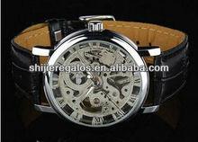 New Mens Design Men's Silver Skeleton Man's Mechanical Watch