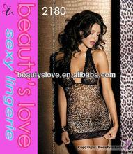 Sexy halter neck lace cup animal print babydoll 2012 fashion sleepwear