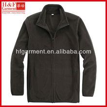 Plain pullover jackets made of anti-pilling polar fleece full zip in brown