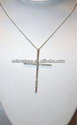Sterling Silver CZ Cross Necklace,Large necklace,fashion design lady necklace
