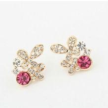 Korean Fashion cartoon butterfly diamond stud earrings
