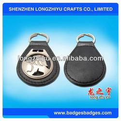 Custom car logo keyring made of leather commemorative keychain souvenir metal rectangular key tag for promotion gift