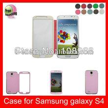 Auto Wake Sleep Function High Quality PU leather Phone case for Samsung Galaxy S4 I9500,Pink