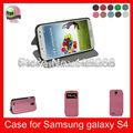 Auto despertar la función del sueño de alta calidad de cuero de la pu caja del teléfono para samsung galaxy s4i9500, caliente de color rosa