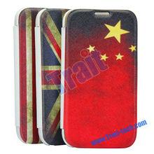 I9500 S4 Retro National Flag Leather Case for Samsung Galaxy S4 Retro USA UK CN Flag Leather Case