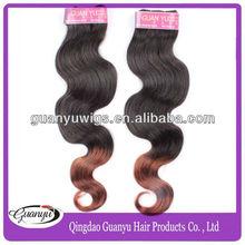 fashion leader new style brazilian humn virgin hair weaving ombre hair