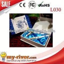 hot sell beautiful metal 4gb custom logo metal pen usb flash memory with any capacity