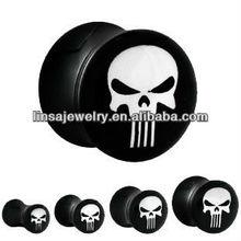 Hot fancy black acrylic print cool skull ear tunnel uv flesh tunnels