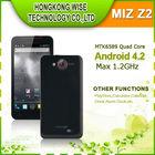 In Stocknew MIZ Z2 Android 4.2 MTK6589 1.2GHz Quad core phone 5'' IPS 1280x720p HD Screen 1GB RAM 8GB ROM 8MP