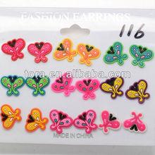 new design of cartoon stud earrings/girl's stud earrings for butterfly