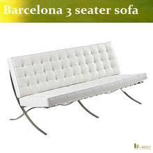 Barcelona Sofa Inspired 3 Seater Black