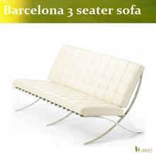 White 3 Seater Barcelona Leather Sofa