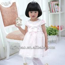 Caliente la venta de color amarillo arco ajustes del cordón vestidos hermosos del bebé