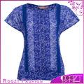 cobalto daisy laço superior e blusas para mulheres uniforme para mulher rt0501