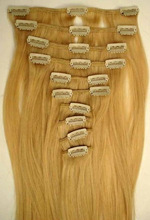 Natural clip in human hair extensions