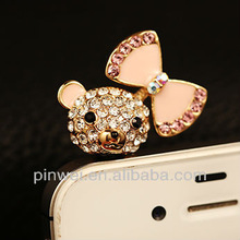 New collection pig with bowknot dust plug earphone cap DP90742