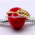 preço barato por atacado chapeamento de ouro e maçã vermelha europeia bead bracelet
