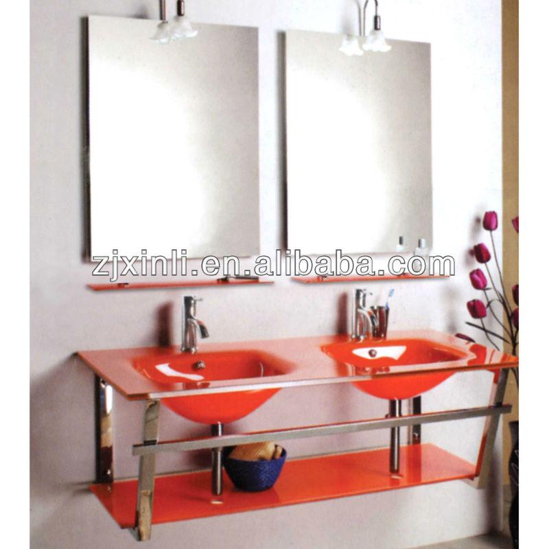 Haute qualit tremp verre double vasque rouge couleur verre avec support en - Double vasque verre trempe ...