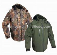 Wooland camo hunting and shooting softshell jacket