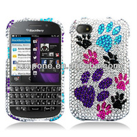 Crystal Diamond BLING Hard Case Snap Phone Cover Colorful Paws for blackberry Q10