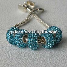 fashion big hole clay pave stone european beads