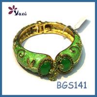 New arrival cute turkish gold jewellery designs fake diamond tennis enamel alloy neon green bracelet
